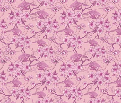 Birds and Sakura Blossoms fabric by oksancia on Spoonflower - custom fabric