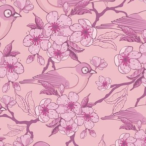 Birds and Sakura Blossoms