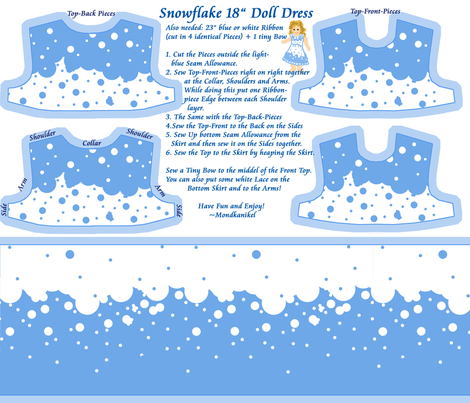 "Snowflake 18"" Doll Dress fabric by mondkanikel on Spoonflower - custom fabric"