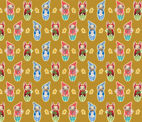 Holiday Imps | GOLD fabric by shelliquinn on Spoonflower - custom fabric