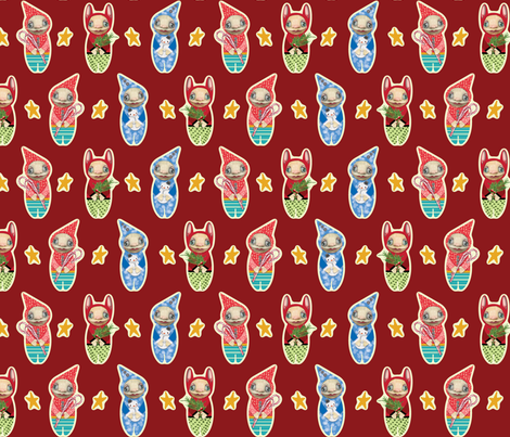 Holiday Imps | RED fabric by shelliquinn on Spoonflower - custom fabric