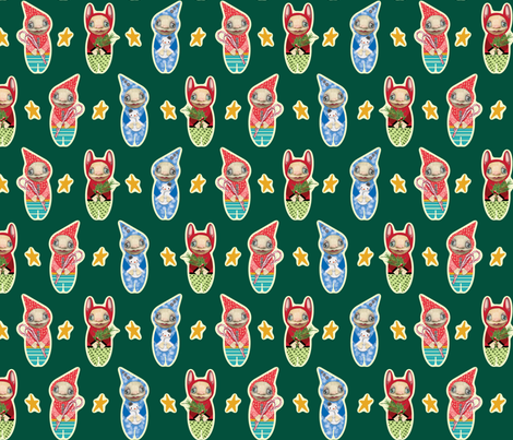 Holiday Imps | GREEN fabric by shellimakesstudio on Spoonflower - custom fabric