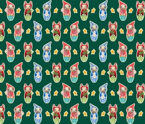 Holiday Imps | GREEN fabric by shelliquinn on Spoonflower - custom fabric
