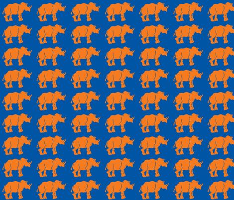 Smaller Orange Rhinos fabric by bad_penny on Spoonflower - custom fabric