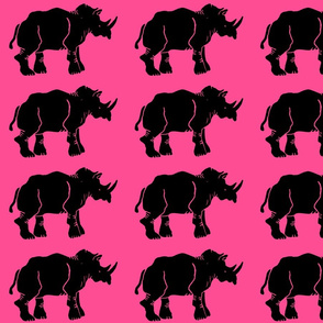 Black Rhino on Hot Pink