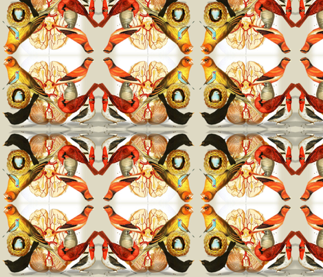 Vintage Printable - Birds and Brains fabric by swivelchair on Spoonflower - custom fabric