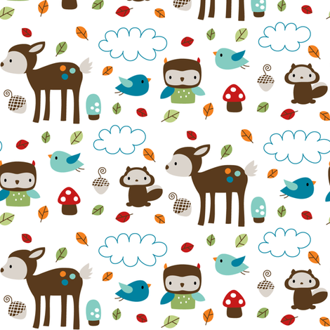 Woodsie Cuties fabric by misstiina on Spoonflower - custom fabric