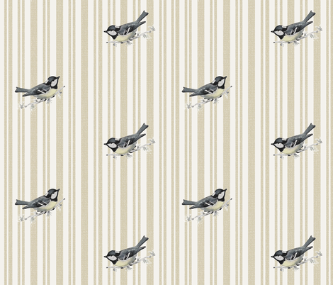 Chickadee Ticking (neutral) fabric by hauteideas on Spoonflower - custom fabric