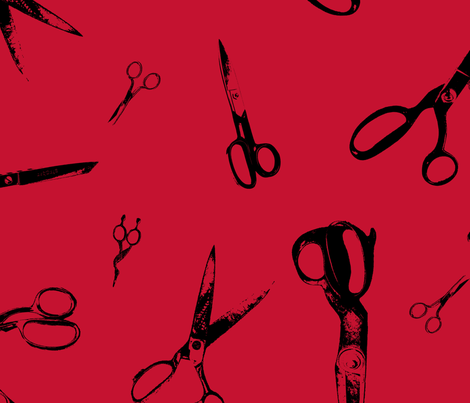 Bigger Scissors on Red fabric by candyjoyce on Spoonflower - custom fabric