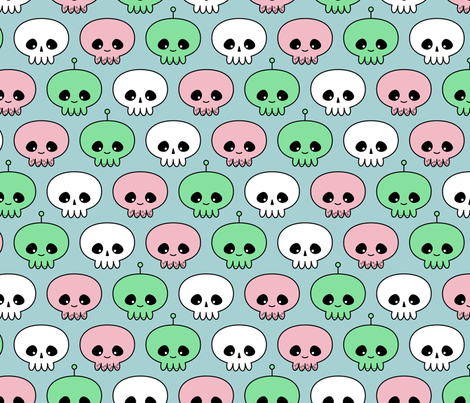 Squids, Skulls and Spacemen fabric by chris on Spoonflower - custom fabric