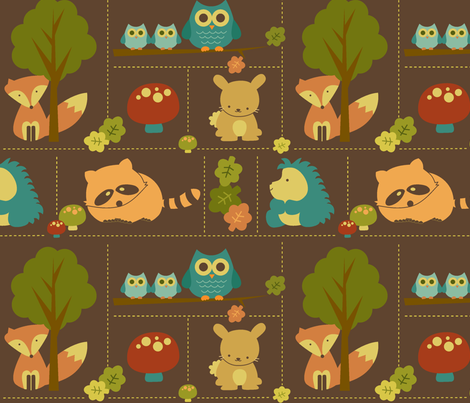 Cuddly Woodland Animal Bricks fabric by saraink on Spoonflower - custom fabric
