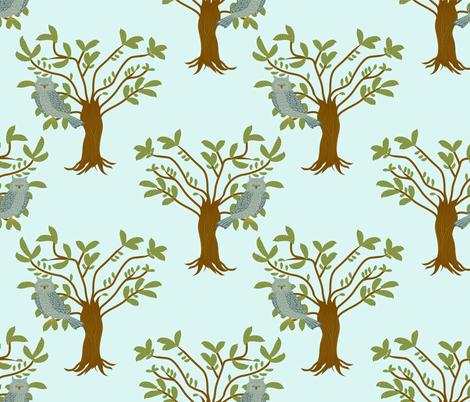 owl in tree fabric by lene_frid on Spoonflower - custom fabric