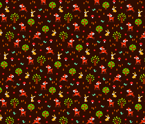 happy woodland fabric by littlebeehive on Spoonflower - custom fabric