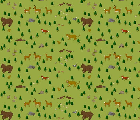 Pacific_NW_Woodland_Critters fabric by cmerdian on Spoonflower - custom fabric