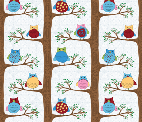 A family of owls (LARGE REPEAT) fabric by shiny on Spoonflower - custom fabric