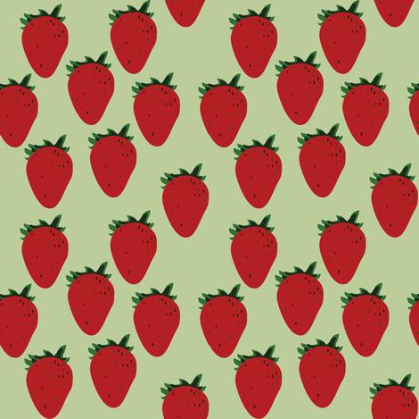 Green Strawberry fabric by nuuk on Spoonflower - custom fabric