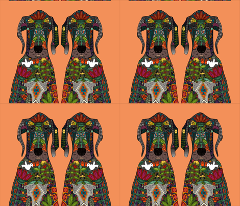 Great Dane Love tangerine placemat panels fabric by scrummy on Spoonflower - custom fabric