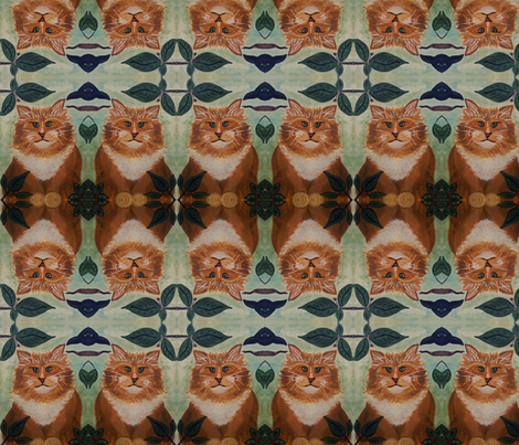 Cat with Crow fabric by corbyscats on Spoonflower - custom fabric