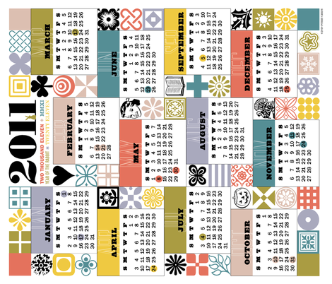 2011 Tea Towel Calendar fabric by pennycandy on Spoonflower - custom fabric