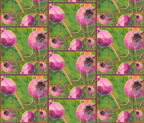 Rose Hip Collage fabric by donna_kallner on Spoonflower - custom fabric