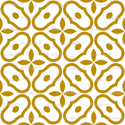 Mosaic - White and Old Gold