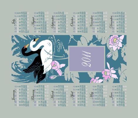 2011 swan calendar (display) fabric by shelley_thornton on Spoonflower - custom fabric