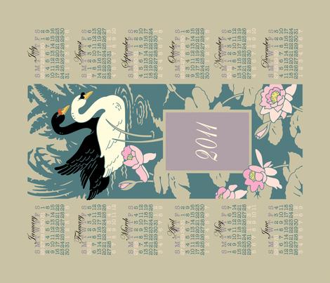 swan_calendar_print fabric by shelley_thornton on Spoonflower - custom fabric
