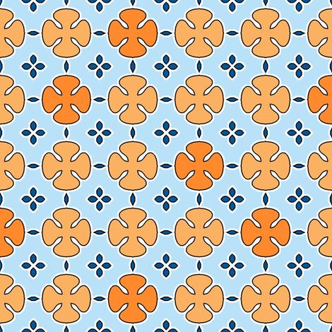 Mosharabi - Orange and Blue fabric by inscribed_here on Spoonflower - custom fabric