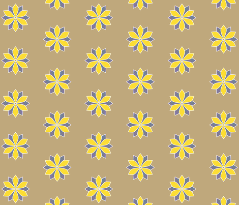 Gray and Yellow Flower fabric by siya on Spoonflower - custom fabric