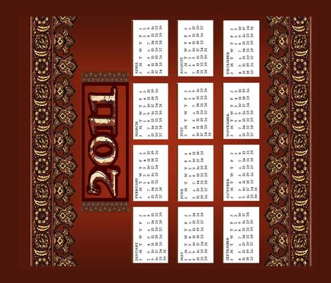 Ye_Olde_Calendar_2011 fabric by elephant_booty_studio on Spoonflower - custom fabric