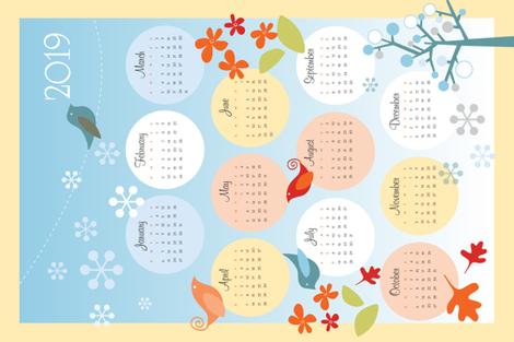 2019 Four Seasons Calendar fabric by snowflower on Spoonflower - custom fabric