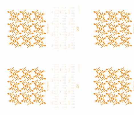 Floral-Flatware-Orange fabric by organizeandamuse on Spoonflower - custom fabric