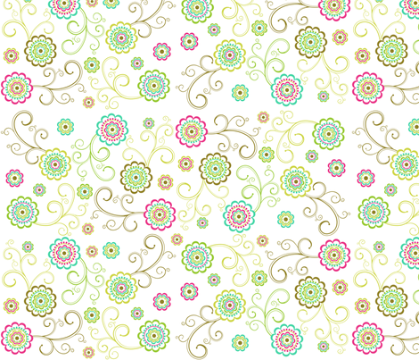 Flowers_and_Swirls fabric by printablecrush on Spoonflower - custom fabric