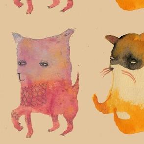 Three Animals on buff