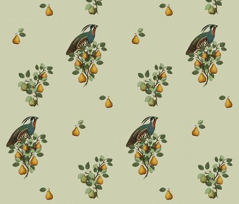 Partridge in a Pear Tree  fabric by hauteideas on Spoonflower - custom fabric