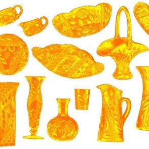cut glass tableware orange on white
