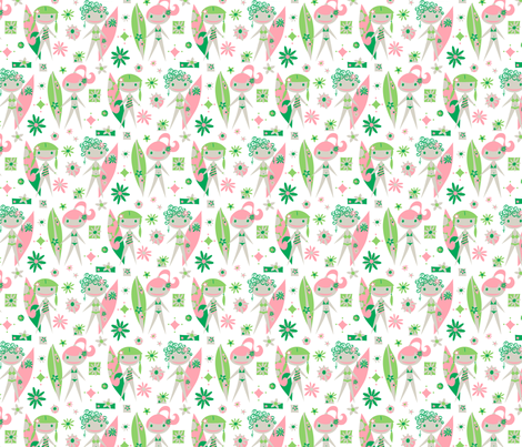 Surfer Girls Mini Girls (white) fabric by mktextile on Spoonflower - custom fabric