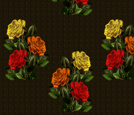 red orange yellow roses fabric by elcynae on Spoonflower - custom fabric