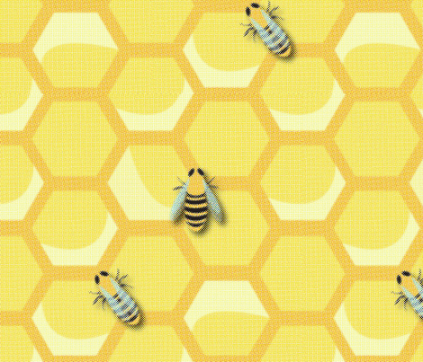 Large Vintage Worker Bees fabric by nightgarden on Spoonflower - custom fabric
