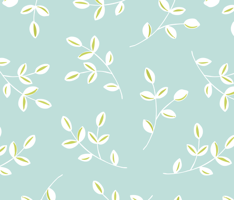 Sweet Leaves - AQUA fabric by pattysloniger on Spoonflower - custom fabric