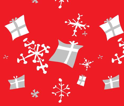 Scandinavian retro snowflakes and gifts fabric by nicoledobbins on Spoonflower - custom fabric