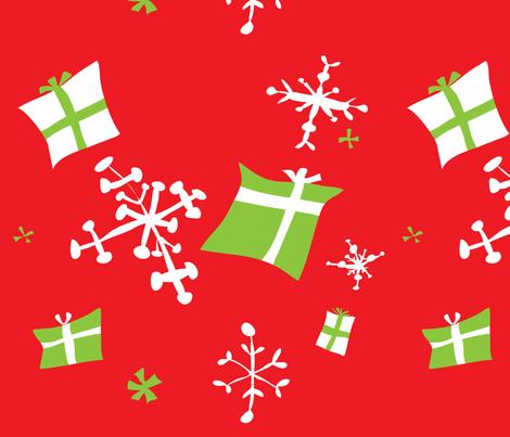 Red w Green presents Snowflakes fabric by nicoledobbins on Spoonflower - custom fabric