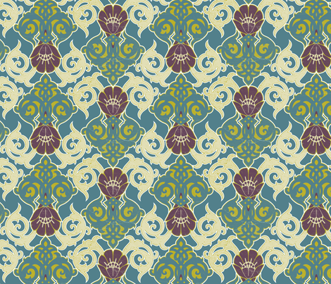 Nouveau in Green fabric by locamode on Spoonflower - custom fabric