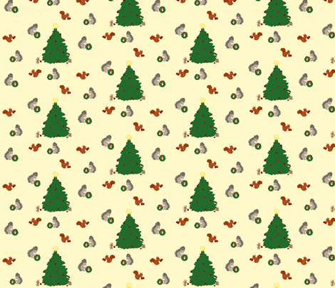 Festive Winter Animals fabric by featheredneststudio on Spoonflower - custom fabric