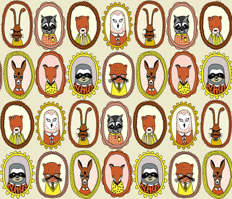 woodland // raccoon bear fox owl bunny cute illustration of animals fabric by andrea_lauren on Spoonflower - custom fabric