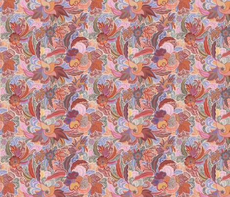 Jungle Phantasies brown-pink-orange fabric by eva_the_hun on Spoonflower - custom fabric