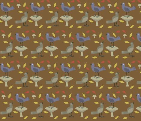 birds_on_brown fabric by antoniamanda on Spoonflower - custom fabric