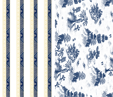 Blue Willow Toile with Border fabric by juliamonroe on Spoonflower - custom fabric