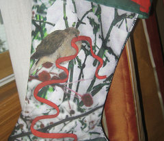 Christmas stocking -- Dove decorates branches