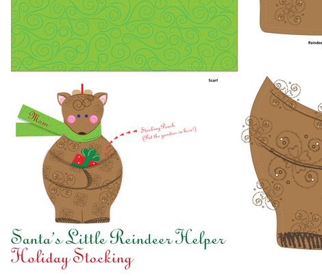 Holiday Stocking: Santa's Little Reindeer Helper - © Lucinda Wei fabric by lucindawei on Spoonflower - custom fabric